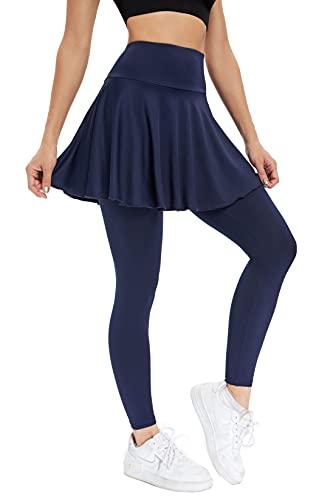 JOYSHAPER Women Tennis Skirted Legging with Pockets,Golf Pleated Skirt Capris Leggings Athletic Workout Running Yoga Pants Blue