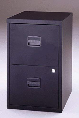 Bisley Home Hängeregistraturschrank PFA, 2 HR-Schubladen, Metall, 633 Schwarz, 40 x 41.3 x 67.2 cm