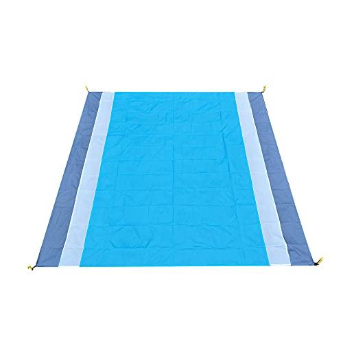 XPT Manta De Picnic De Bloques De Colores De 210x200cm para Exterior Impermeable Plegable Grande para Picnic, Tienda De Campaña, Manta De Playa con Estilo Simple Gris + Azul + Blanco