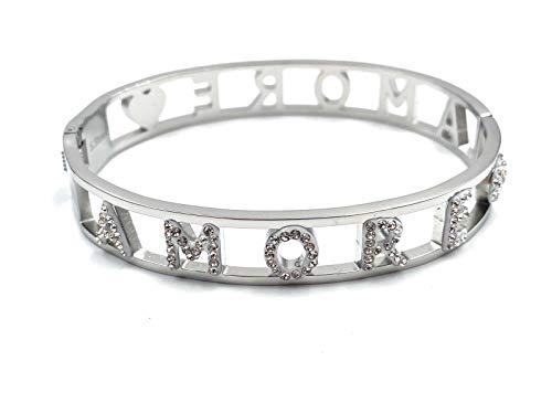 Fashion - Pulsera rígida con inscripción «Love», ideal como regalo para mujer, de acero inoxidable, color plateado