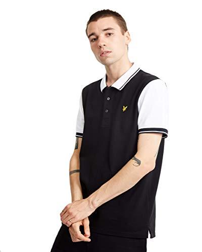 Lyle & Scott Tipped Polo Shirt Large True Black White