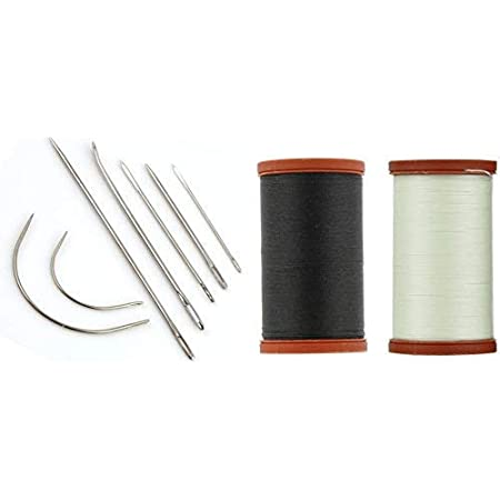 Sale! Upholstery Repair Kit! Coats & Clark Extra Strong Upholstery Thread 1 Naturel Spool, 1 Black Spool (150-Yard) Includes a Set of Heavy Duty Assorted Hand Needles, 7-Count