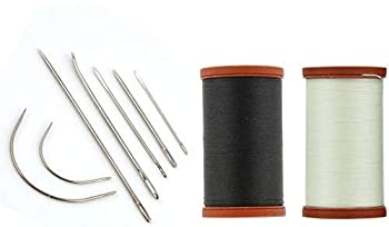 Sale! Upholstery Repair Kit! Coats & Clark Extra Strong Upholstery Thread 1 Naturel Spool 1 Black Spool  150-Yard  Includes a Set of Heavy Duty Assorted Hand Needles 7-Count