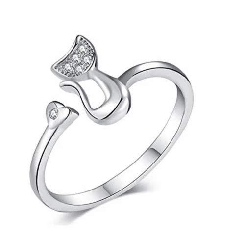 wuayi Women Simple Creative Cat Ring, Love Heart Open Adjustable Rings, Funny Fashion Elegant Silver Jewelry Gift for Ladies Girls