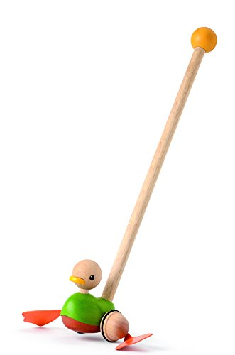 PlanToys- Push Along Duck Pasea al Pato, Juguete de Arrastre, Multicolor (5626)