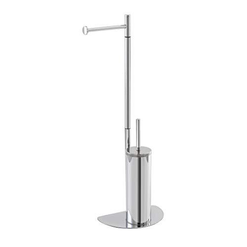 Piantana Bagno salvaspazio in acciaio, disponibili in 2 colorazioni, base ergonomica salvaspazio (Cromo, Portascopino)