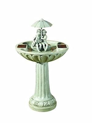 Small Solar Powered Water Feature Grey Resin Birdbath Water Fountain Children and Dog Sheltering under Umbrella PC201
