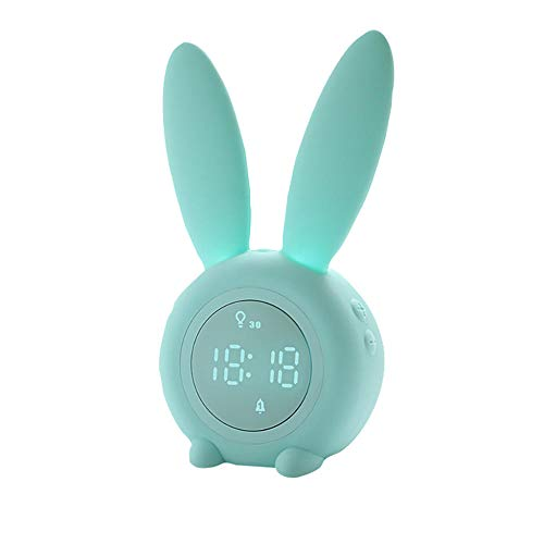 FPRW Digitale wekker, schattig konijntje, elektronische klok, creatief tekenen, digitaal, met herhaling, wekker, digitale radio Blue