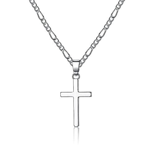 CERSLIMO Kreuz Kette Herren Damen, Kette mit Kreuz Silber Halskette Anhänger Kreuz für Mädchen Jungen Freund