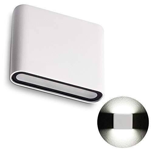 SSC-LUXon LED Wandstrahler TWEE für Aussen IP54 mit 8W neutralweiß 230V - moderne Aufbau Außenwandleuchte Up & Down in weiß