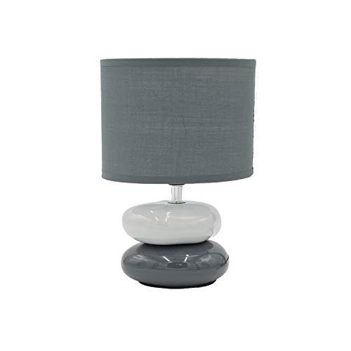 Dictrolux Lámpara de mesa Abat-Jour con pantalla de tela, ideal para dormitorio, salón y oficina, color gris