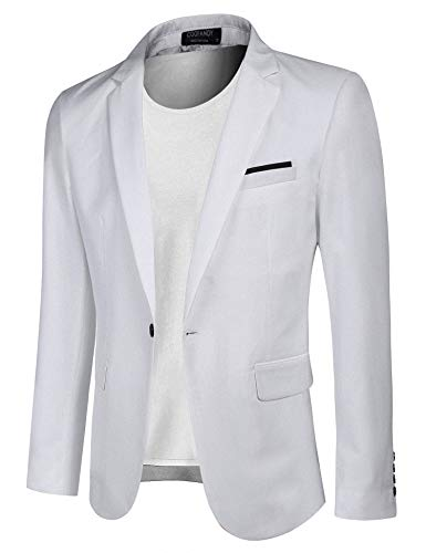 COOFANDY Men's Casual Blazer Jacket Slim Fit Sport Coats Lightweight One Button Suit Jacket (White, Large)