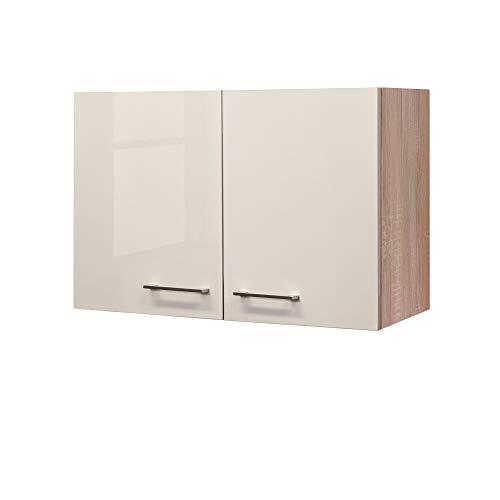 Flex-Well Hängeschrank NEPAL - Küchenschrank - 2-türig - Breite 80 cm - Creme glänzend/Eiche Sonoma