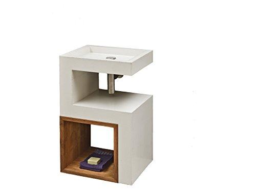 S-Waschtisch Beton Waschbecken Inklusive Holz Cube Ohne Armatur und Abflußgarnitur.