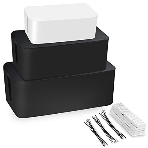 Caja organizadora para cables de escritorio, 3 unidades, color blanco y negro, organizador de almacenamiento para cables con cordón metálico para la oficina en casa