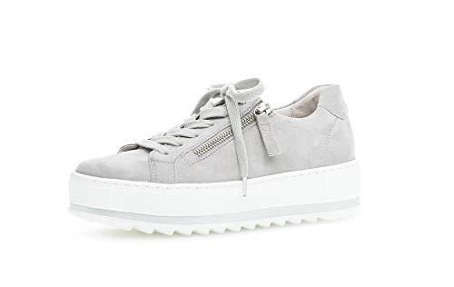 Gabor Damen Sneaker, Frauen Low-Top Sneaker,leichte Mehrweite,Reißverschluss,Wechselfußbett, strassenschuh Frauen,Light Grey,38.5 EU / 5.5 UK