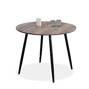 Adec - Suecia, Mesa de Comedor Redonda, Mesa de salón acabada en Color Nogal y Patas Negras, Medidas: 100 cm (Diámetro) x 75 cm (Alto)