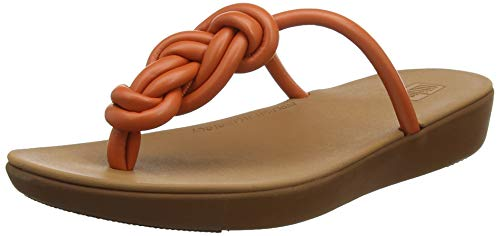 Fitflop Swirl Knot Jasmin Toe Post, Sandali a Punta Aperta Donna, Arancione (Amber Ash 679), 36 EU