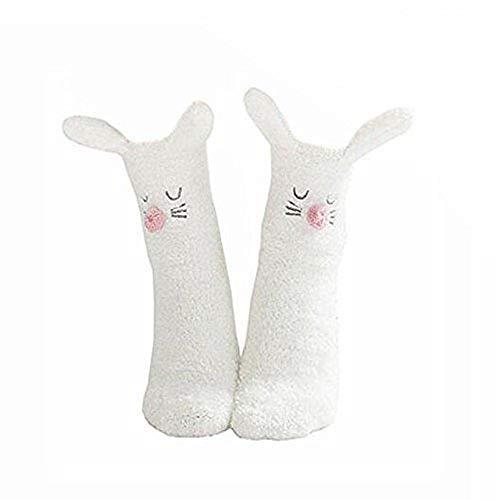 Cisixin Niedlich Fußboden Socken,Warme Plüsch Slipper Socken Anti Slip Weiche Socken(Hase)
