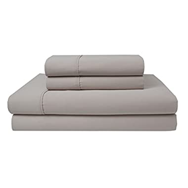 Elite Home Products 300 Thread Count Organic Cotton Deep-Pocketed Sheet Set, Full, Oat