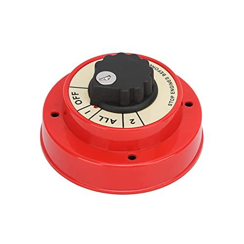 Akozon Interruptor selector de batería, Interruptor selector de batería Dual para Barco de 6 a 32 V, protección contra ignición, Interruptor de desconexión de batería, 4 vías, Servicio Mediano