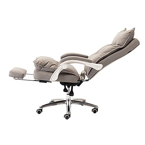 SACKDERTY Silla de Oficina Sillón reclinable Giratorio con Ruedas para computadora para el hogar con reposapiés retráctil, Brazo, Gris