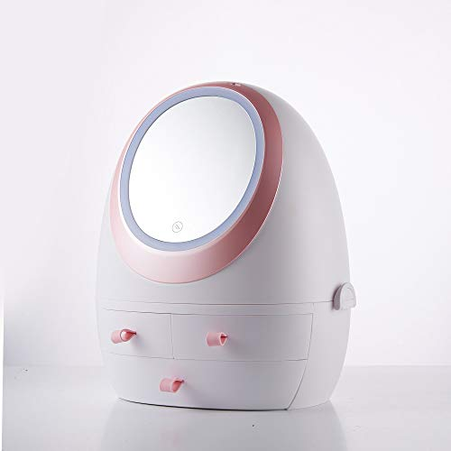 LACMY Kosmetiktasche mit LED-Lichtspiegel Schublade Typ tragbare Aufbewahrungsbox
