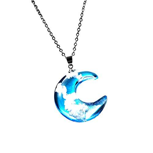 Collares de moda 2021, con colgante de bola redonda de resina transparente y colgante de luna para mujer, azul cielo blanco, cadena esférica y luna