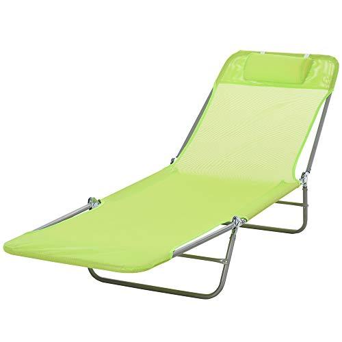 Outsunny® Sonnenliege Gartenliege Relaxliege Bäderliege Zweibeinliege 4 Farben (Grün)