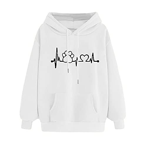 Uqiangy Womens Classic Hooded Sweatshirt Cute Print Hoodie Autumn Winter Casual Sport Pullover Tops With Pocket,M-XXXL (H-White, 14)