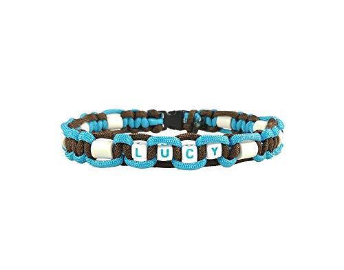 EM-Keramik Halsband mit Name für Hunde, verschiedene Größen wählbar, original EM-X-Keramik-Pipes, braun/hellblau