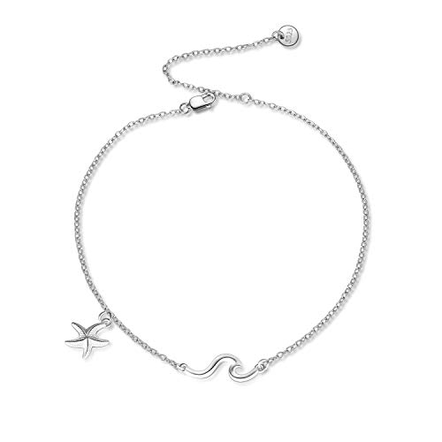 POPKIMI Sterling Silver Wave Starfish Ocean Sea Ankle Bracelets for Women Girls Jewelry Birthday Gifts