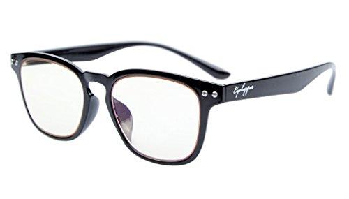 Eyekepper Vintage Flex leichte Kunststoffrahmen Computer Brille Leser Brillen (schwarz, gelb getönt Linsen) +1.0