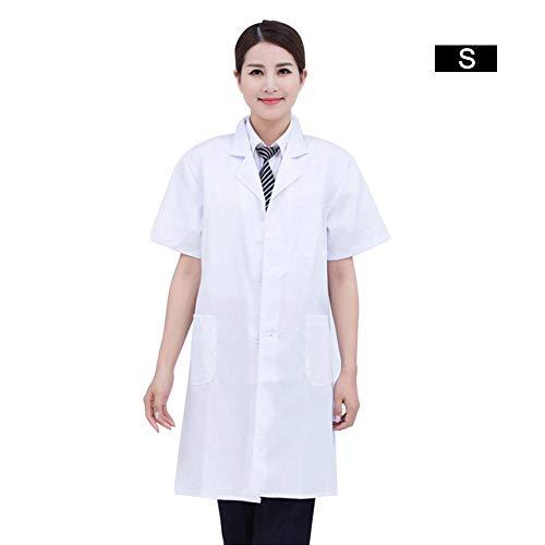 Jinclonder Medisch laboratorium kiel met korte mouwen, laboratoriumkleding voor mannen en vrouwen, artskleding, verpleegkundige, apotheekkleding, S-2XL polyester zacht houdbaar. Comfortabel
