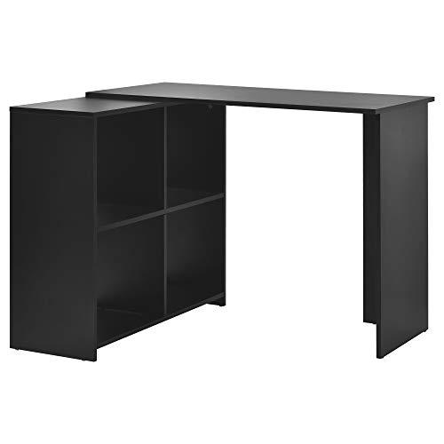 L-Computer Desk con gran espacio de almacenamiento estudio escritorio escritorio portátil mesa para oficina en casa (negro)