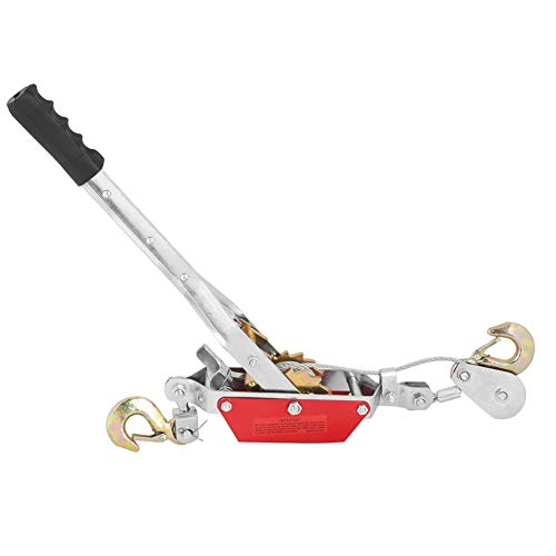Polipasto de Tracción Resistente Polipasto de Cable Cabrestante Portátil Cabrestante Manual de Palanca con 2 Ganchos (2 Toneladas)