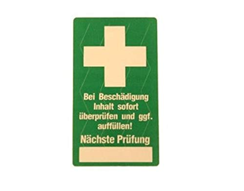 10x Erste Hilfe Siegel Verbandskasten Prüfsiegel Kontrollsiegel 25x45mm selbstklebend made by MBS-SIGNS®