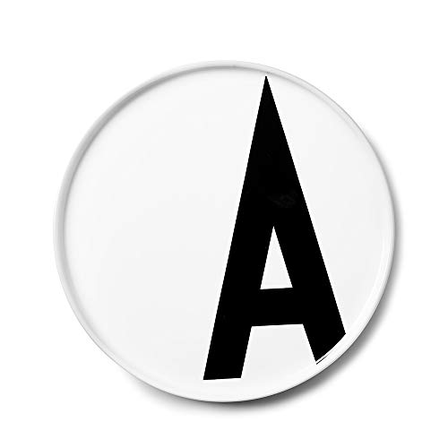 Design Letters Assiette Personnalisée en Blanc Porcelaine Fine de A-Z - A – Assiette Decorative, Idéal décorer, comme Cadeau Personnel, ou pour Les Repas, Compatible Lave-Vaisselle, D: 20cm
