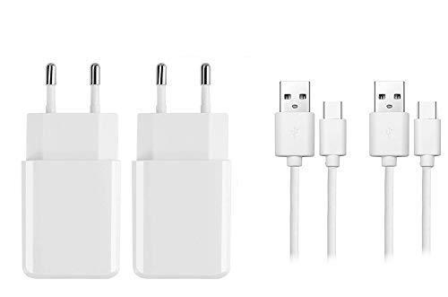 OKCS Typ C Ladeset - Schnell und Sicher - 2 x 1 Meter Schnellladekabel + 2A Netzteil kompatibel für Galaxy S8, 8+, 9, 9+, 10, MacBook, Chromebook Pixel 2, OnePlus 2, One Plus 5T UVM. Weiß