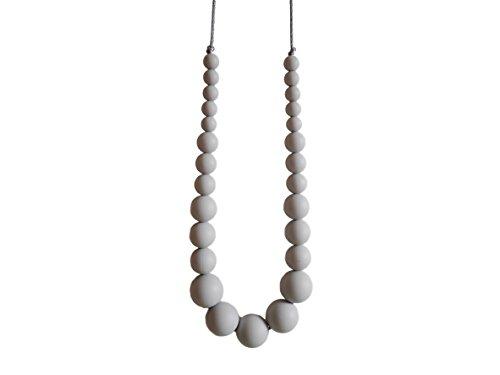 Elegante Collar de Dentición de Silicona con Forma de Perla, Mordedor para la Lactancia de Su Bebé con 27 Cuentas sin BPA, Hecho a Mano por MilkMama, 3 Colores (gris)
