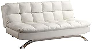 Furniture of America Preston Tufted Faux Leather Sleeper Sofa Bed in White