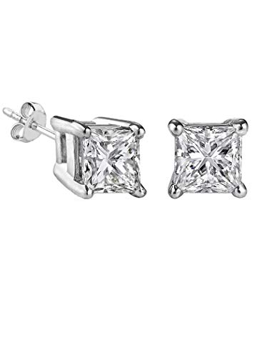 iJewelry2 Princess Cut Square Diamond CZ Basket Set Silver Unisex Stud Earrings (10mm 6ct.)