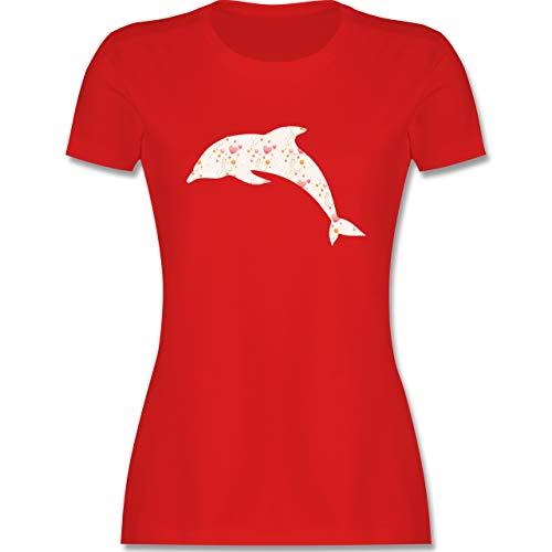 Sonstige Tiere - Delfin Herzen - XL - Rot - t Shirt Damen Delfin - L191 - Tailliertes Tshirt für Damen und Frauen T-Shirt