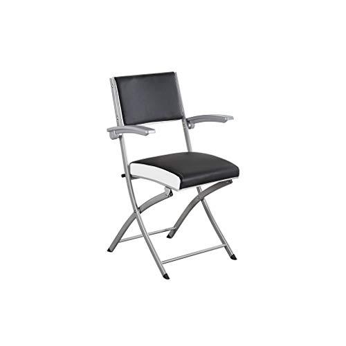 Metalen opvouwbare draagbare bureaustoel zwart wit rand zonder armleuningen 42×40×95CM 42×40×95CM