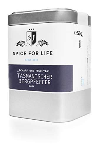 Spice for Life Tasmanischer Bergpfeffer - Tasmanische Pfefferbeeren sehr Scharf Edel Schwarz Ganz - Deluxe Pfefferkörner Grob für Steak - Fruchtig Süß mit einer warmen aber kräftigen Schärfe 50g