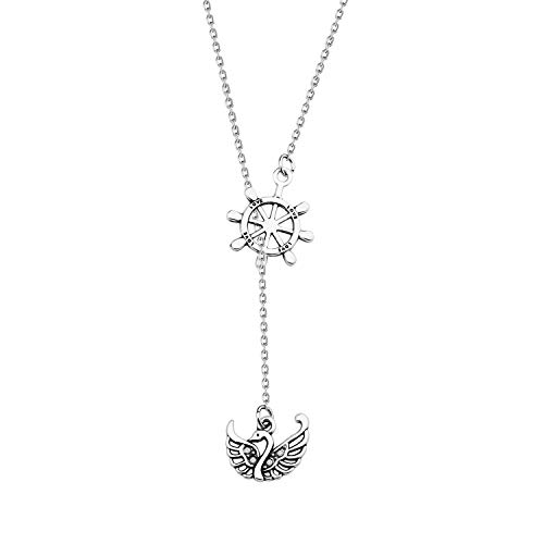 Captain Hook and Emma Swan Inspire Necklace Swan and Rudder Silver Lariat Y Necklace Captain Swan Y Necklace Movie Quote Jewelry (Swan Hook Y neckalce)