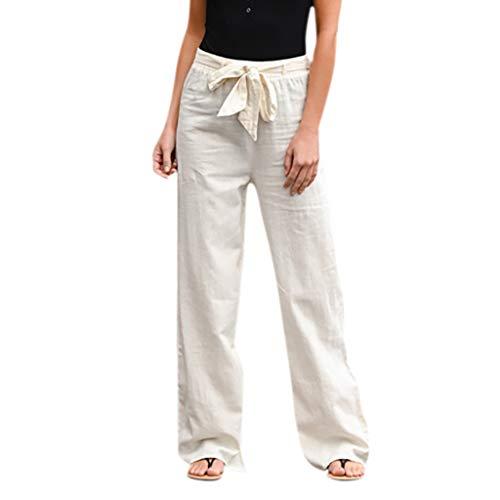 Buedvo Women Casual Solid High Waist Harem Pants Loose Bandage Elastic Waist Pants Solid Bandage Loose Casual Wide Leg Leggings Bottom Long Pants (XL, White)
