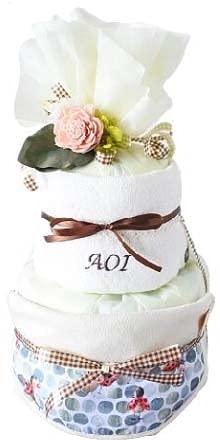 006natural 出産祝い 男の子 女の子 おむつケーキ 北欧 オーガニック タオル 名入れ (てんとう虫柄, パンパースSテープ)