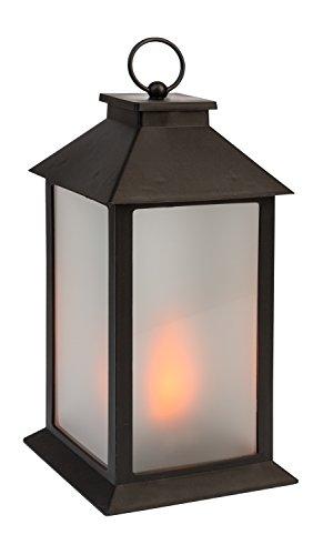 Idena 31095 - Laterne mit 54 LED in flackernder Flammenoptik, mit 6 Stunden Timer Funktion, batteriebetrieben, für Hochzeit, Party, Deko, Weihnachten, als Stimmungslicht, ca. 14 x 14 x 28 cm
