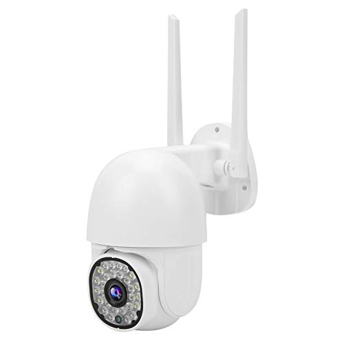 Telecamera WIFI 1080P con visione notturna a colori a 28 luci, telecamera dome PTZ impermeabile, conversazione bidirezionale, accesso remoto al telefono cellulare(EU)